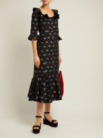ERDEM Opaline Ottman Fil-coupé Coton-Blend Midi Black Dress