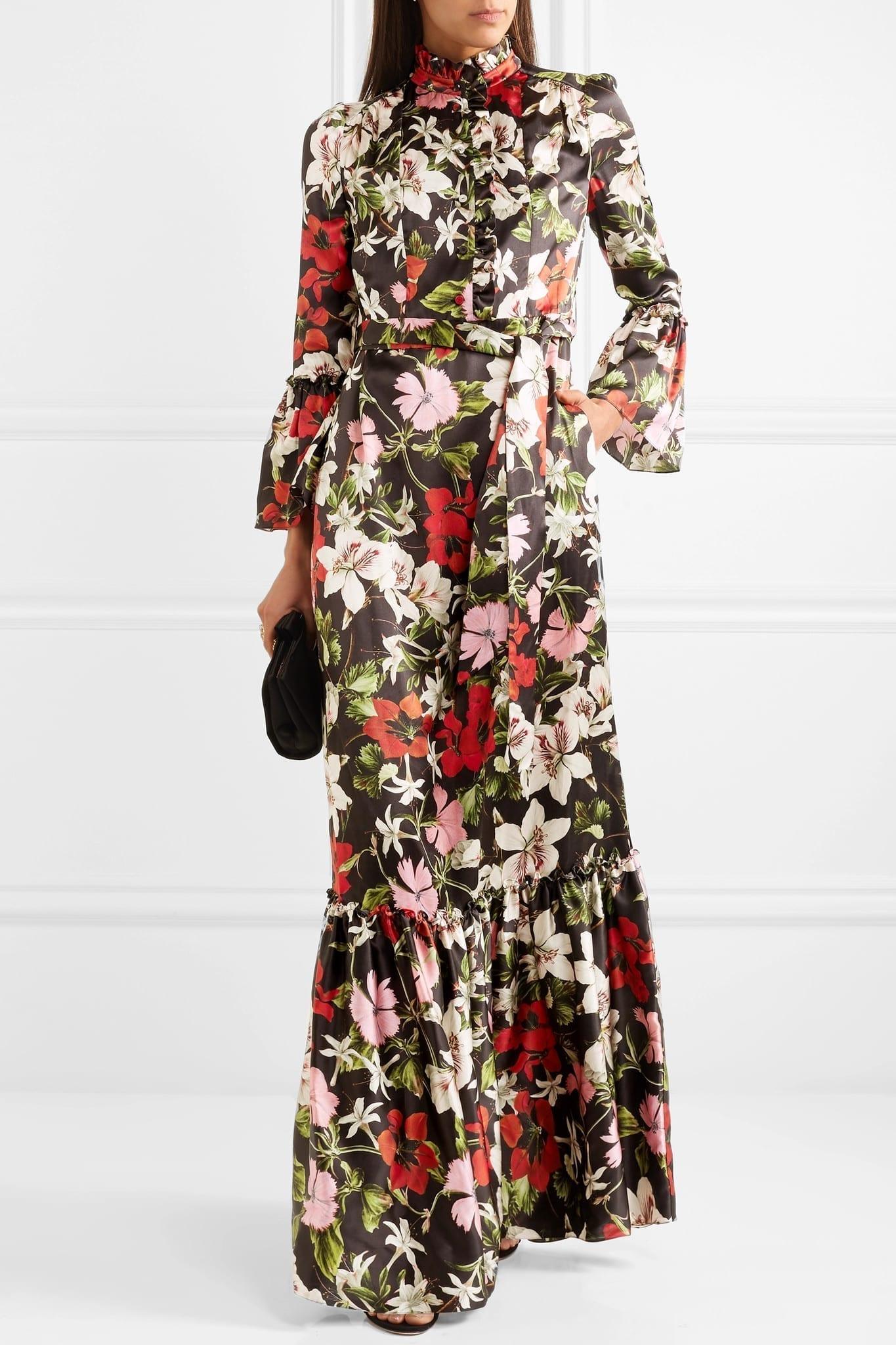 ERDEM Stephanie Floral-Print Silk-Satin Black Gown