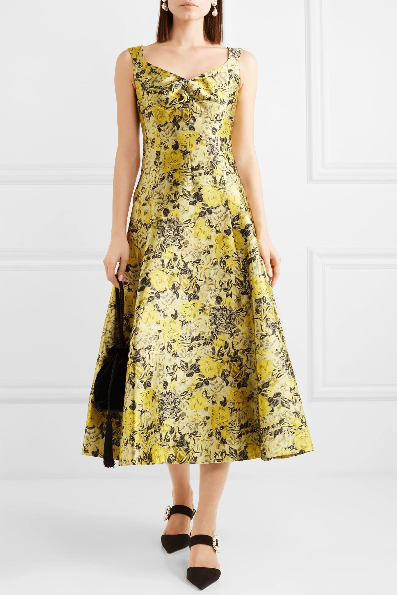ERDEM Verna Floral-Jacquard Midi Yellow Dress