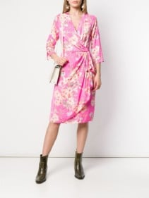 ESSENTIEL ANTWERP Floral Print Wrap Pink Dress
