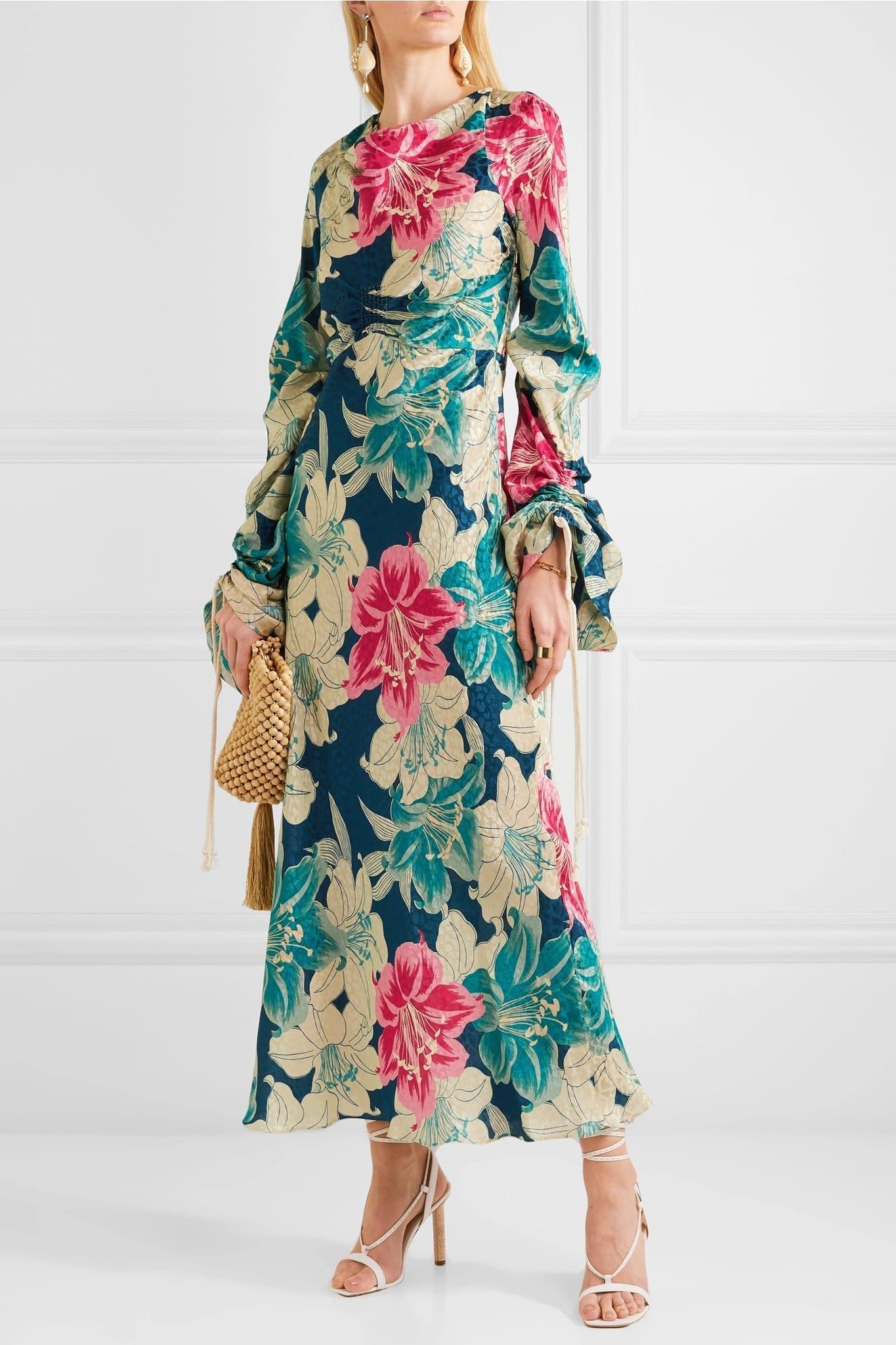 ETRO Floral-Print Silk-Jacquard Maxi Blue Dress