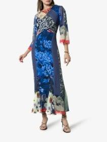 ETRO Patchwork Print Cowl-Neck Silk Blue Dress
