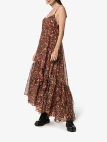 FAITH CONNEXION Ruffle Hem Floral Print Silk Maxi Black Dress