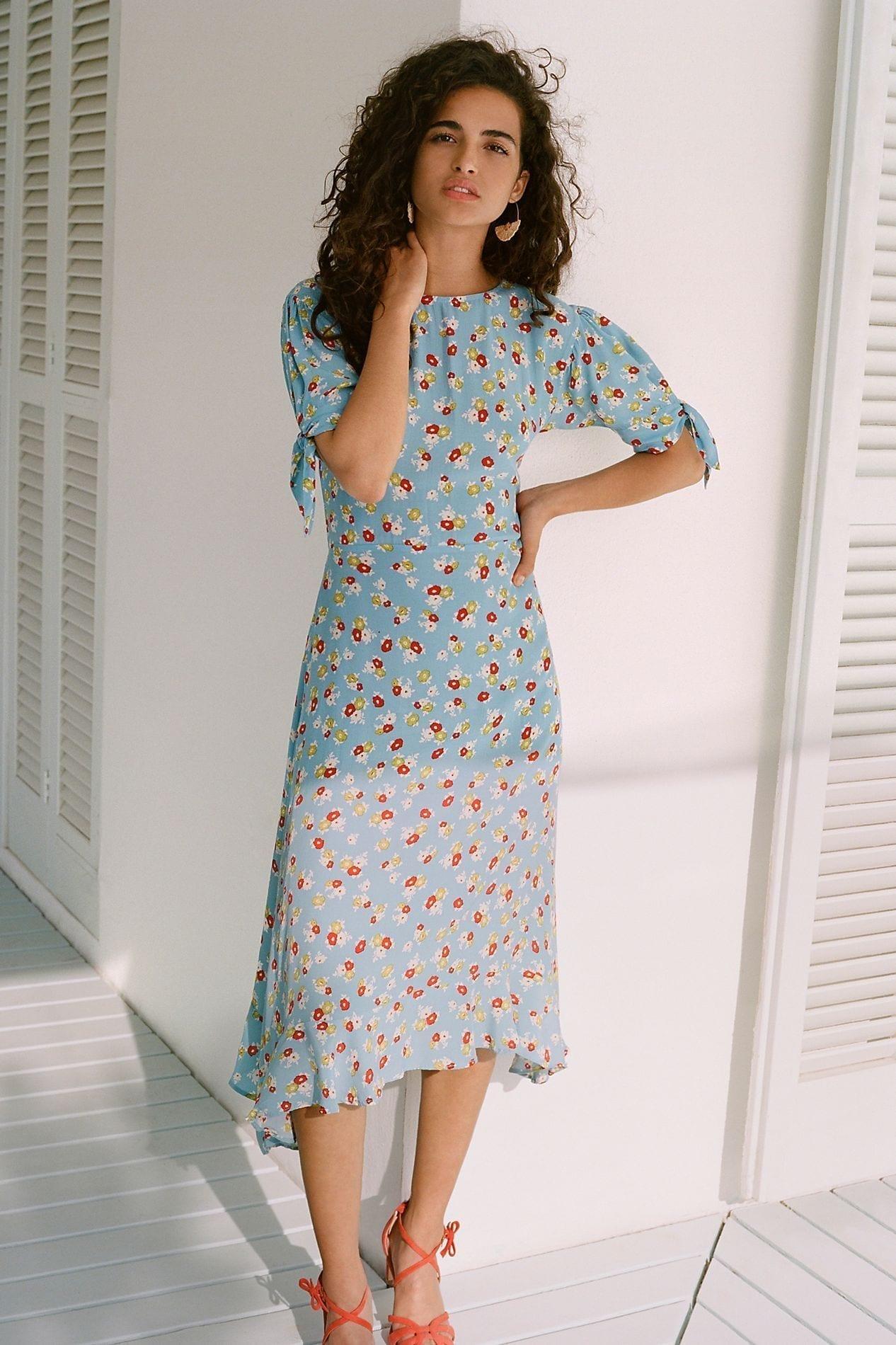 FAITHFULL Erin Midi Blue Dress