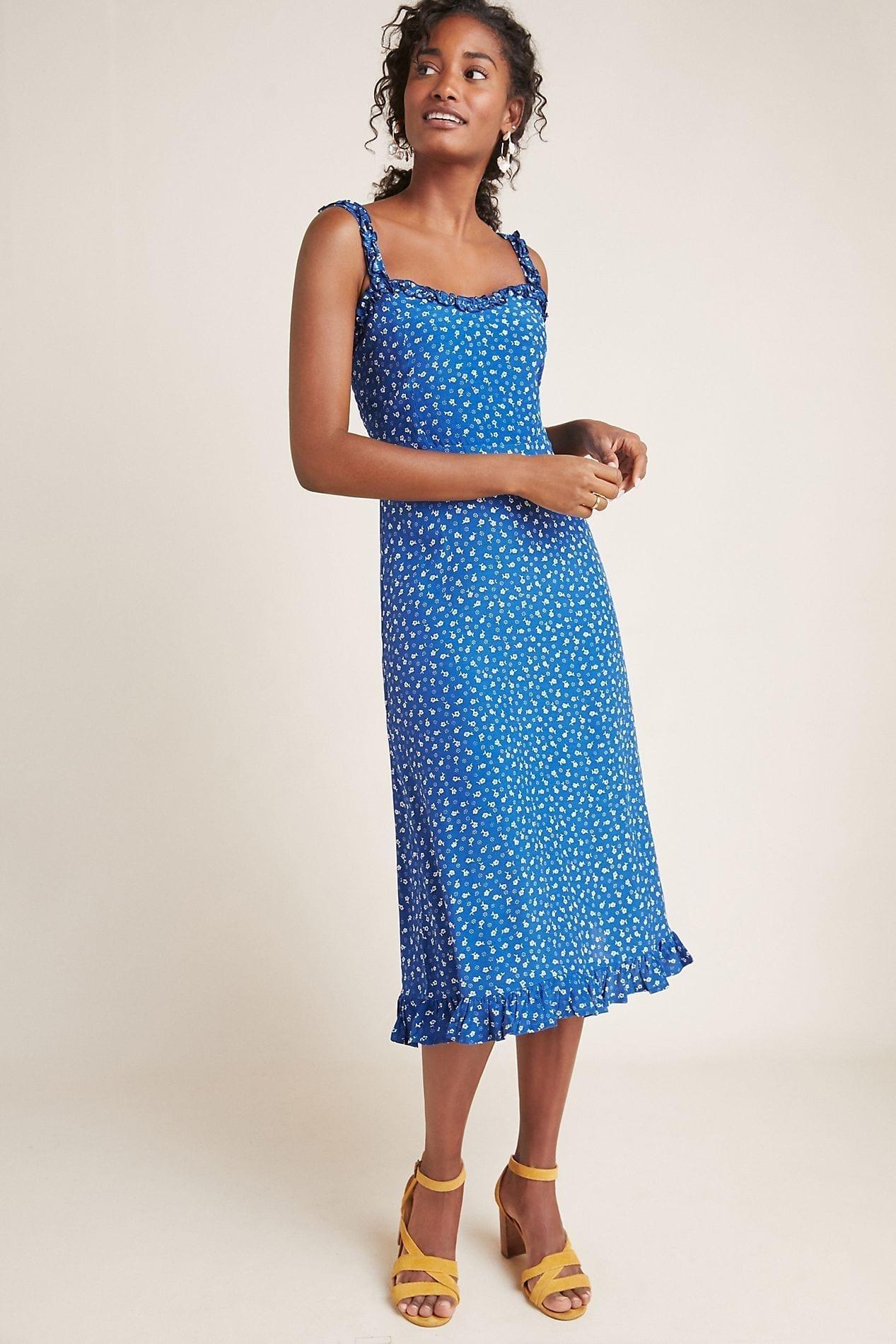 FAITHFULL Monette Midi Blue Dress