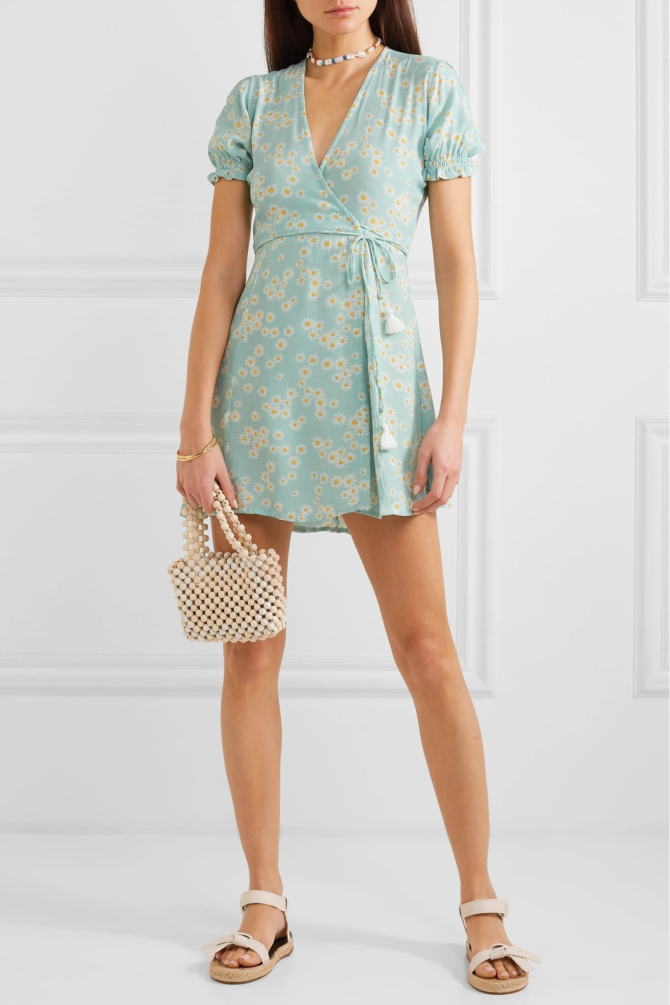 FAITHFULL THE BRAND Faithfull The Brand Mira Floral-Print Crepe Wrap Mini Blue Dress