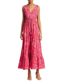 FIGUE Indira Floral Midi Red Dress