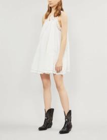 FREE PEOPLE Billie Battenburg One-shoulder Cotton Mini Ivory Dress