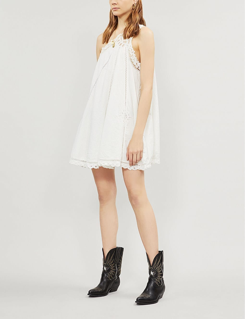 FREE PEOPLE Billie Battenburg One-shoulder Cotton Mini Ivory Dress