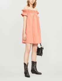 FREE PEOPLE Sophie Flared-sleeves Cotton Mini Pink Dress