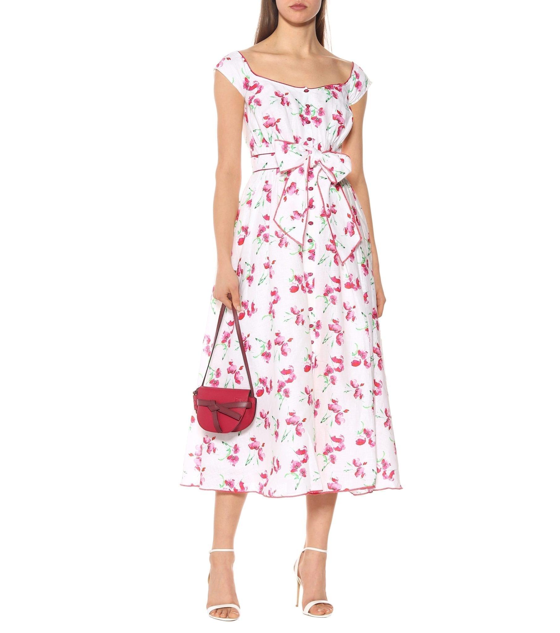 GÜL HÜRGEL Printed Off-The-Shoulder Linen White Dress