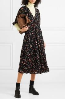 GANNI Elm Floral-Print Georgette Midi Black Dress
