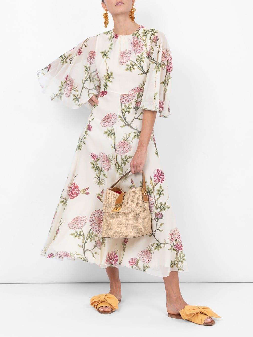 GIAMBATTISTA VALLI Silk Wide Sleeve Midi White / Floral Printed Dress