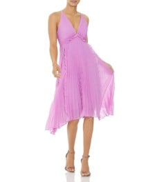 HALSTON HERITAGE Pleated Georgette Tulip Dress