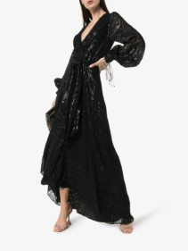 HANEY Coco Belted Silk And Lurex Black Gown