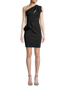 HERVE LEGER One-Shoulder Cocktail Black Dress