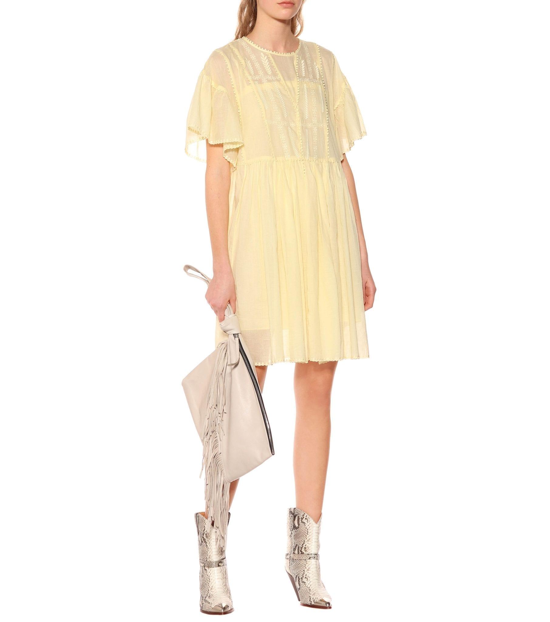 ISABEL MARANT ÉTOILE Annaelle Cotton Lace Mini Yellow Dress