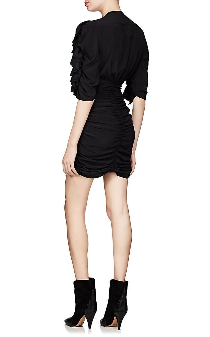 ISABEL MARANT Andor Stretch-Silk Crepe Fitted Black Dress