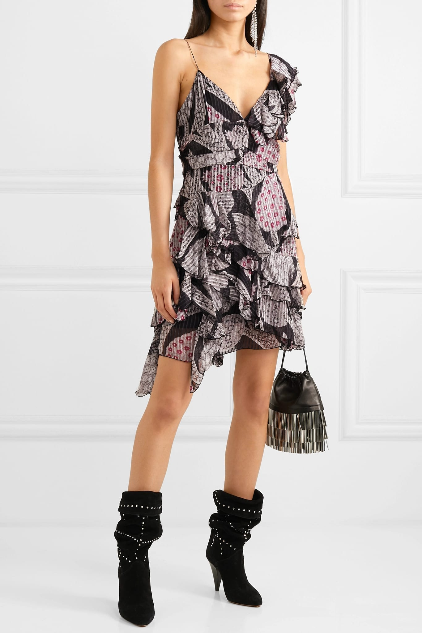 ISABEL MARANT Enta Asymmetric Ruffled Printed Silk-Voile Mini Black Dress