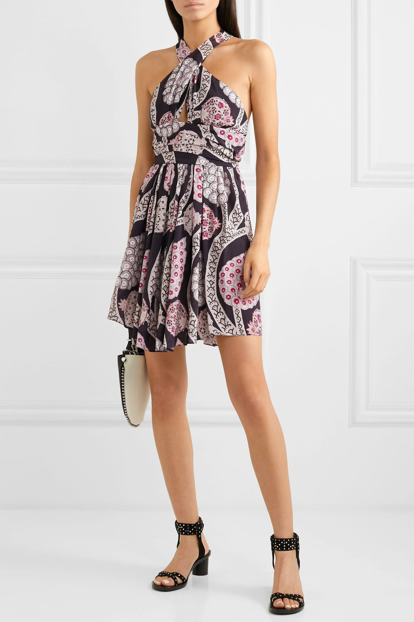 ISABEL MARANT Jan Printed Pleated Crepe Mini Black Dress