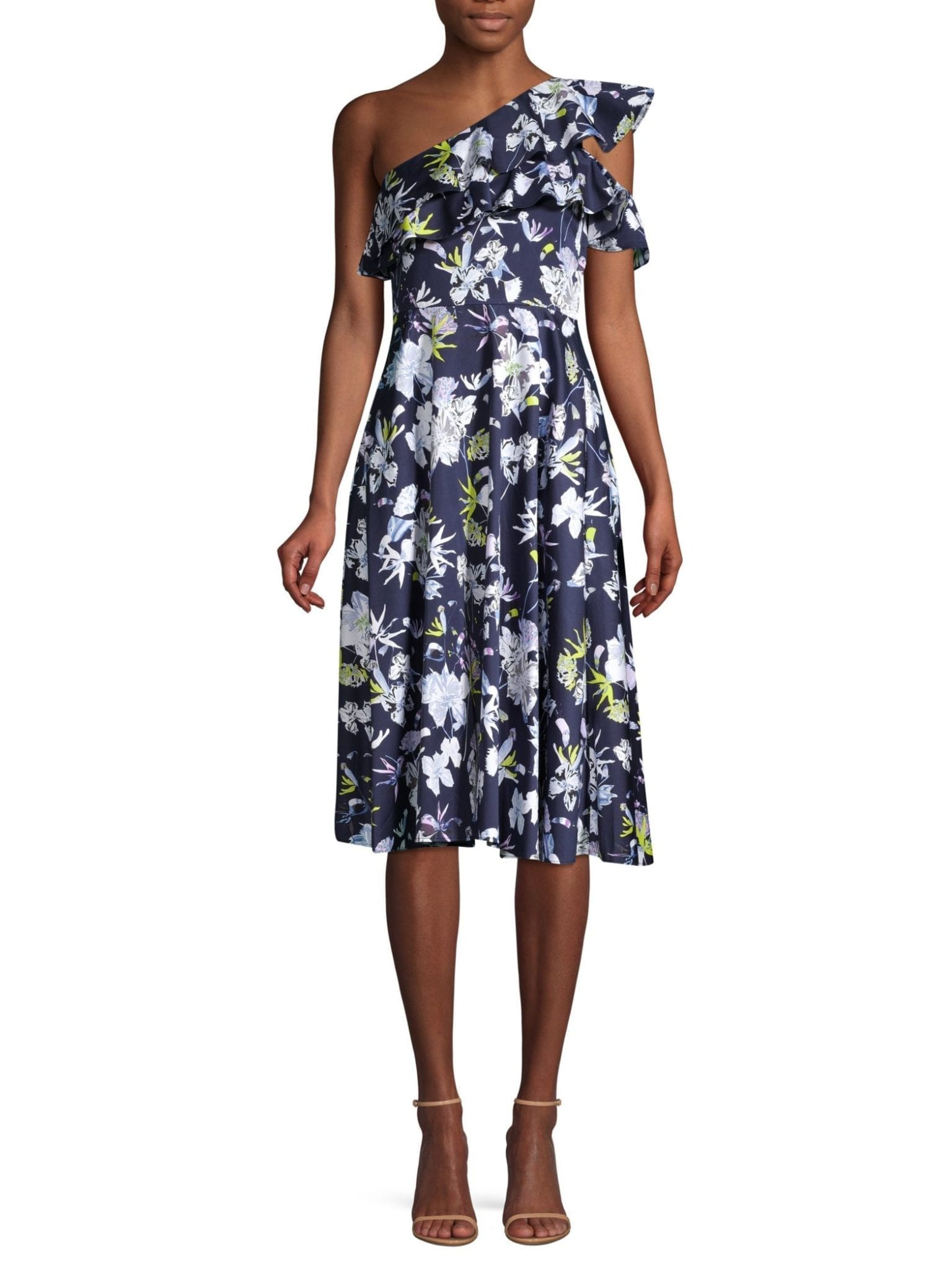 JASON WU COLLECTION Cotton Day Navy / Floral Printed Dress