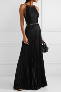 JASON WU COLLECTION Open-Back Lace-Trimmed Silk-Georgette And Pleated Jersey Black Gown