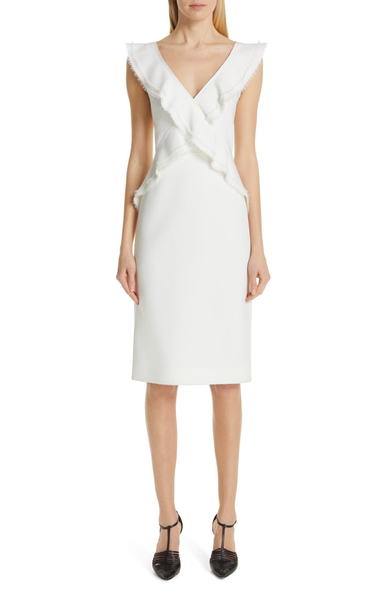 JASON WU COLLECTION Ruffle Compact Crepe White Dress