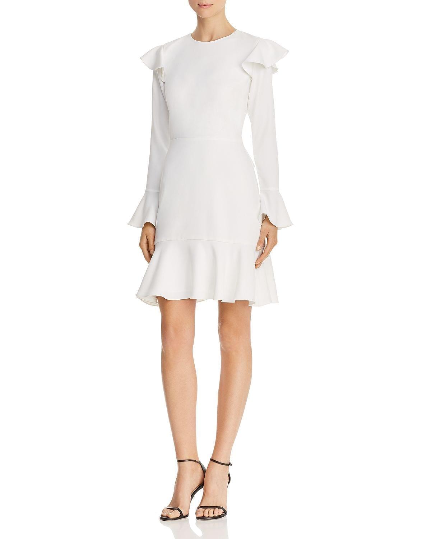 JAY GODFREY Mae Flounced Cutout Ivory Dress
