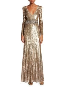 JENNY PACKHAM Deep V-neck Long-sleeve Sequin Gold Gown