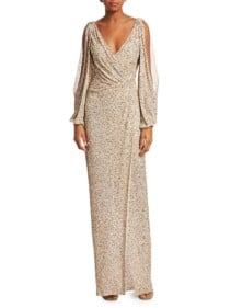 JENNY PACKHAM Gathered Sequin Cold-shoulder V-neck Gold Gown