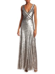 JENNY PACKHAM Sleeveless Sequin V-neck Metallic Gown