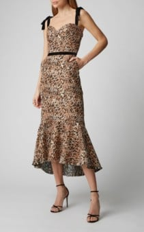 JOHANNA ORTIZ Love Between Species Printed Ruffled-Hem Crepe Brown Dress