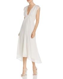 JOIE Shaeryl Striped Midi White Dress