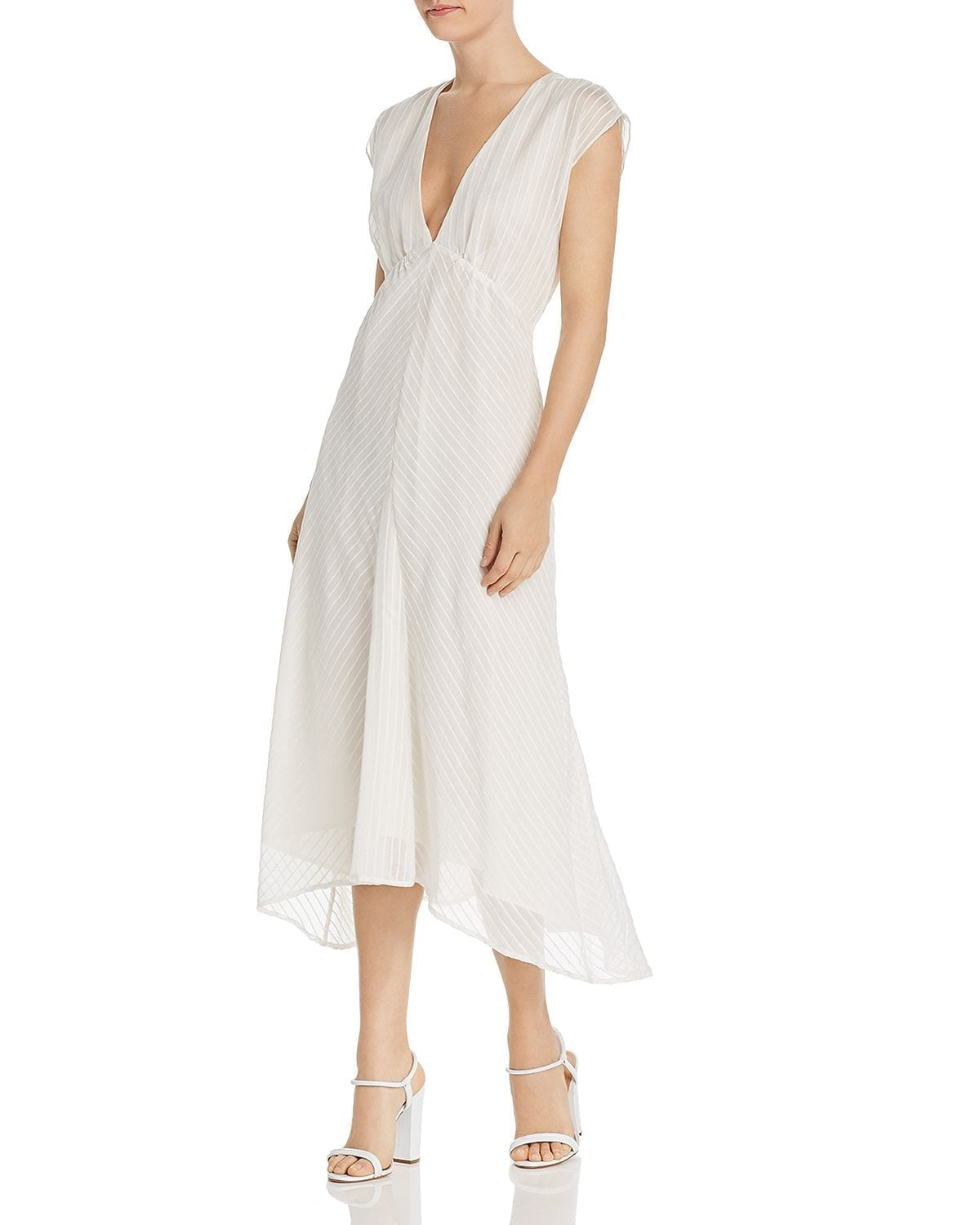 JOIE Shaeryl Striped Midi White Dress