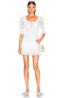 JONATHAN SIMKHAI Crochet Lace Mini White Dress