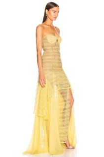 JONATHAN SIMKHAI Embroidered Chiffon Bustier Yellow Gown