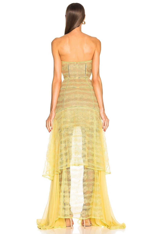 JONATHAN SIMKHAI Embroidered Chiffon Bustier Yellow Gown