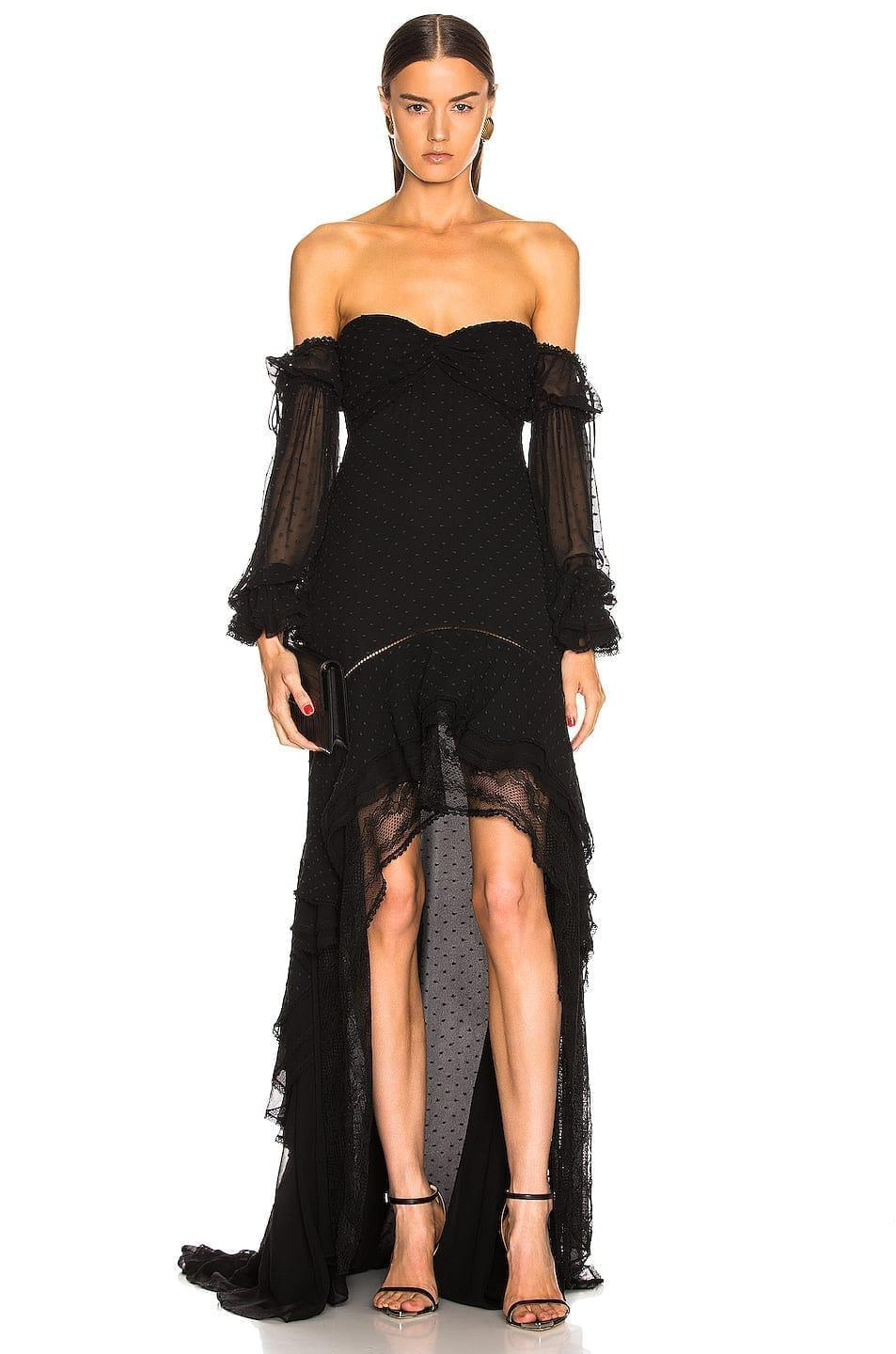 JONATHAN SIMKHAI Embroidered Chiffon Off Shoulder Black Gown