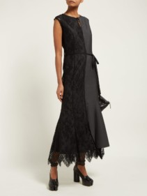 JUNYA WATANABE Lace Slip Overlay Wool-Blend Grey Dress