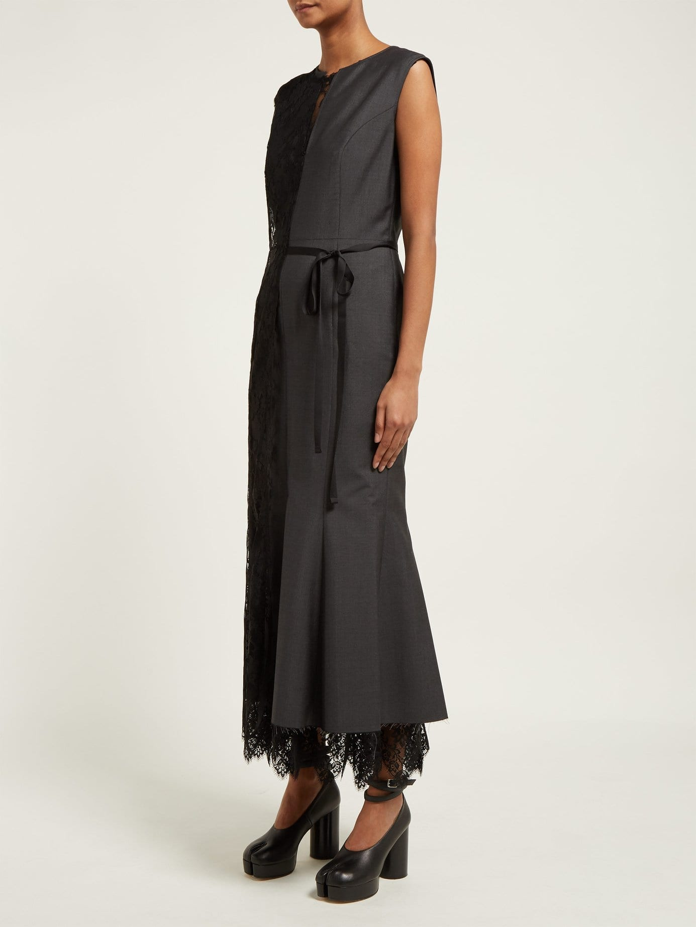 Junya Watanabe Lace Slip Overlay Wool Blend Grey Dress