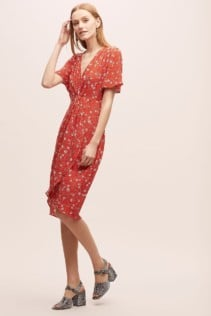 KACHEL Floral Tea Red Dress