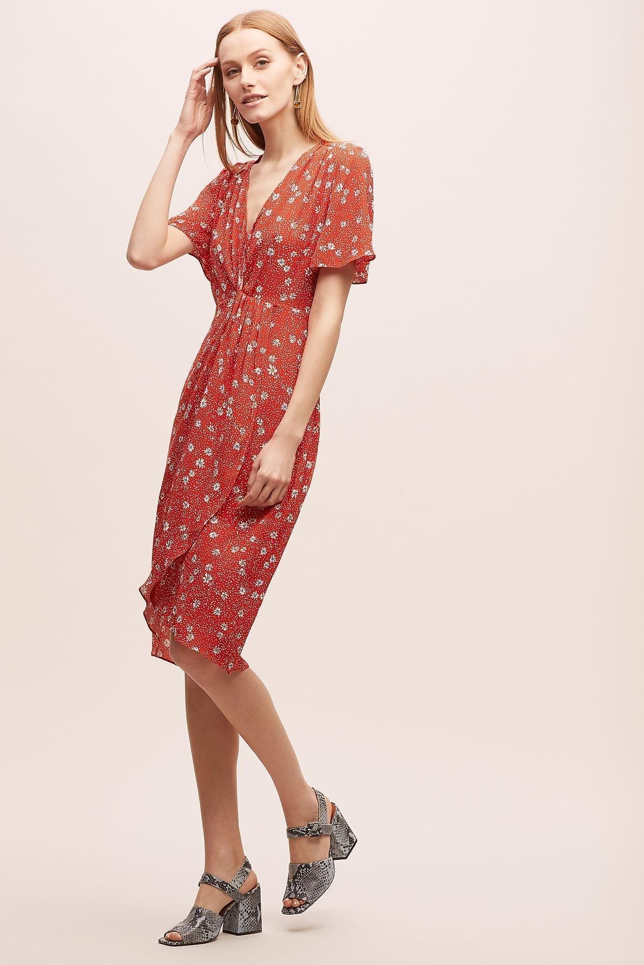 KACHEL Floral Tea Red Dress