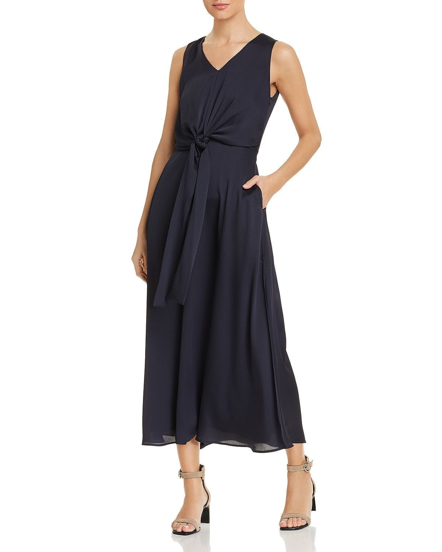 LAFAYETTE 148 NEW YORK Ambrosia Tie-Front Maxi Navy Dress