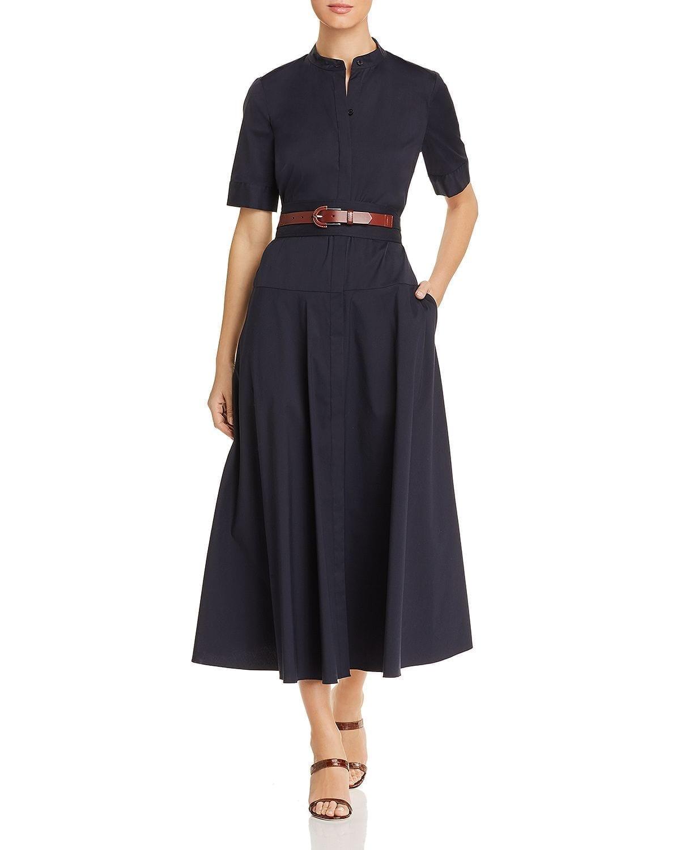 LAFAYETTE 148 NEW YORK Augustina Belted Shirt Navy Dress