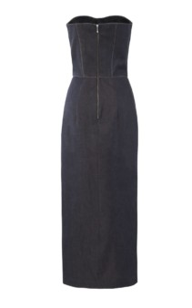 LAKE STUDIO Strapless Asymmetric Denim Midi Blue Dress