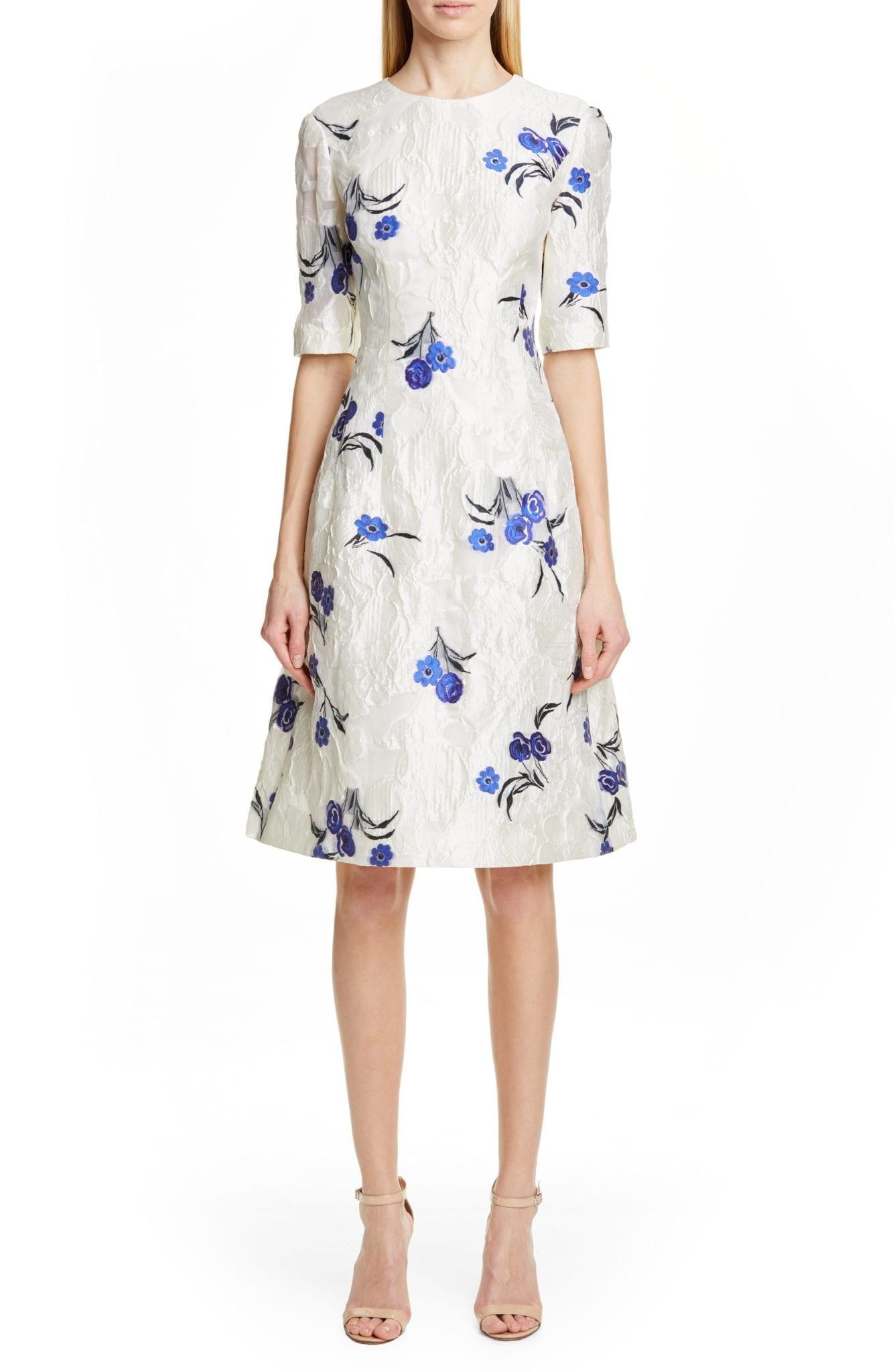 LELA ROSE Holly Floral Jacquard Fit & Flare Ivory Dress