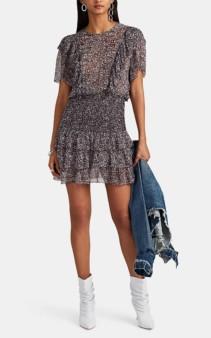 LES COYOTES DE PARIS Batik-Inspired Chiffon Mini Purple Dress