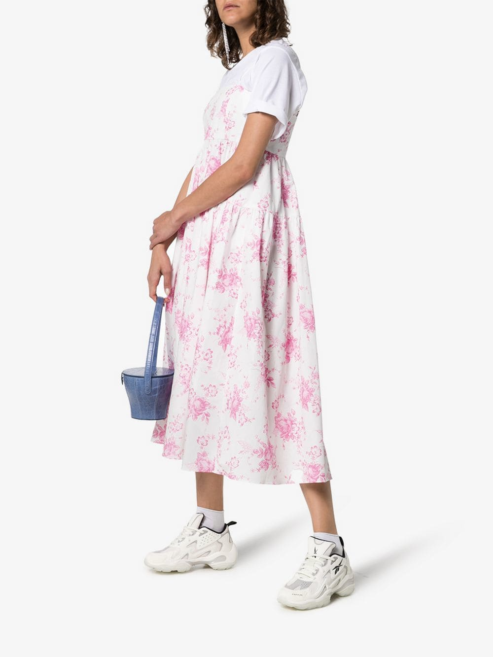 LES REVERIES Strappy Pleated Cotton Midi White / Floral Printed Dress