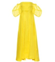 LOEWE Leather-Trimmed Georgette Yellow Dress