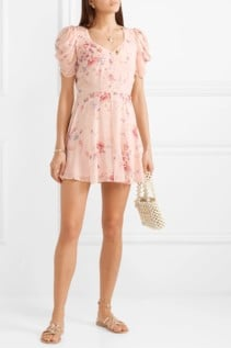 LOVESHACKFANCY Cora Floral-Print Silk-Georgette Mini Pink Dress